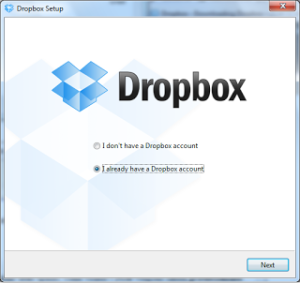 Dropbox account setup