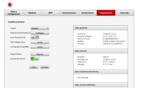 pannello di configurazione della Vodafone station 5